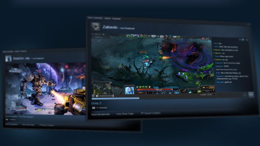 Steam adiciona suporte a transmissões ao vivo